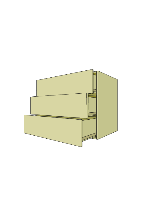 Extra Wide 3-Equal Drawer Base