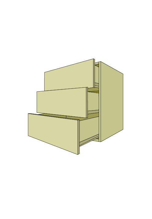 Wide 3-Equal Drawer Base